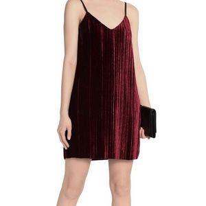 Tart Oda Red Velvet Pleated Dress